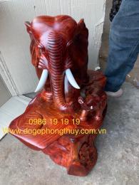 Tượng Voi mẫu tử Phong Thuỷ Gỗ Hương Gia lai