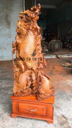 Cá chép vượt  vũ  môn hoá rồng gỗ hương ta