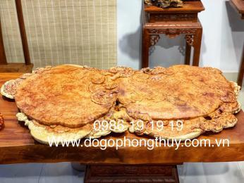 Khay trà VIP gỗ nu hương nguyên khối