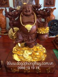Phật di lặc thần tài dát vàng 24k