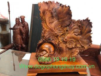 Tượng cá xiêm gỗ hương Krongpa Gia lai