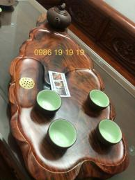 Khay trà gỗ trắc Việt nguyên khối