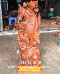 Cá chép vượt vũ môn hoá rồng gỗ Cẩm
