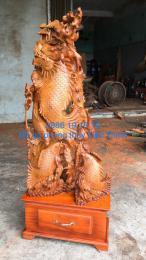 Cá chép vượt vũ môn hoá rồng gỗ hương Gia lai