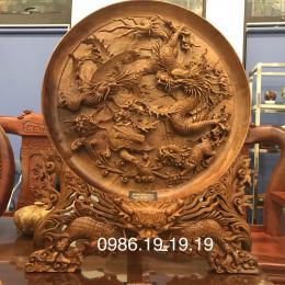 Tranh đĩa tu linh gỗ hương Gia Lai nguyên khôi đk 80cm dày 10cm