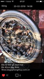 tranh đĩa tu linh gỗ mun hoa