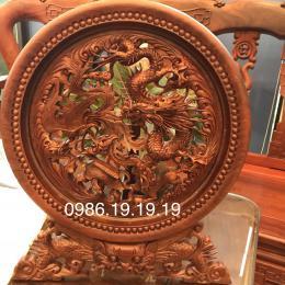 Tranh Đĩa Tứ linh Gỗ Huong Gia Lai đk 40cm cao 50cm day 4cm