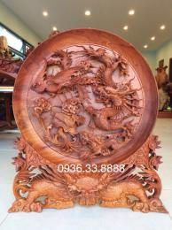 Tranh Đĩa Tu linh Gỗ Hương Đaklak Đk 60cm