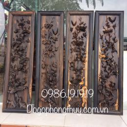 tranh tứ quý tungd trúc cuc mai gỗ mun hoa