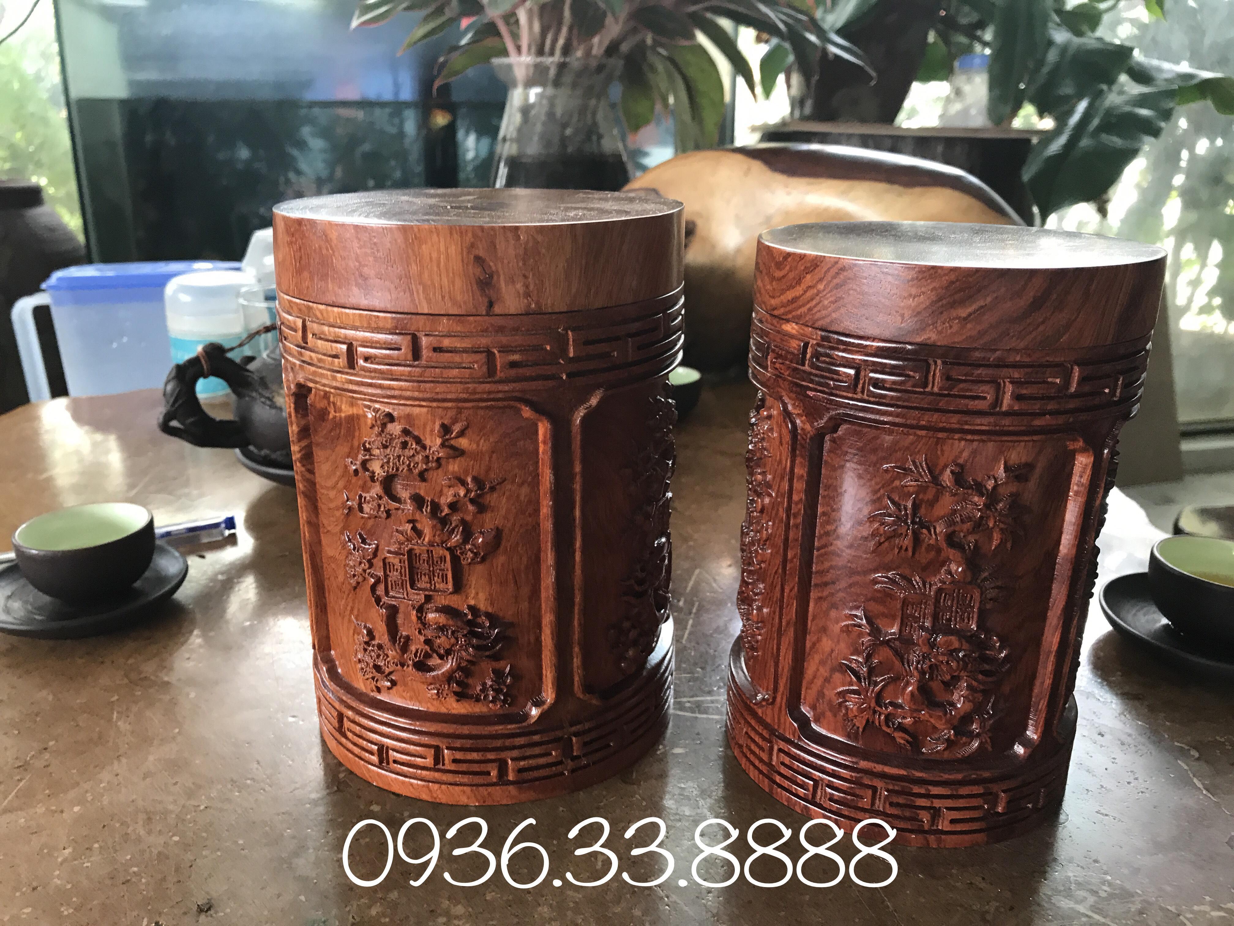 Hộp trà đục tứ quý gỗ hương