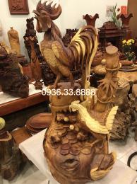 Tượng đàn gà phong thủy, gỗ hương gia lai nguyên khối