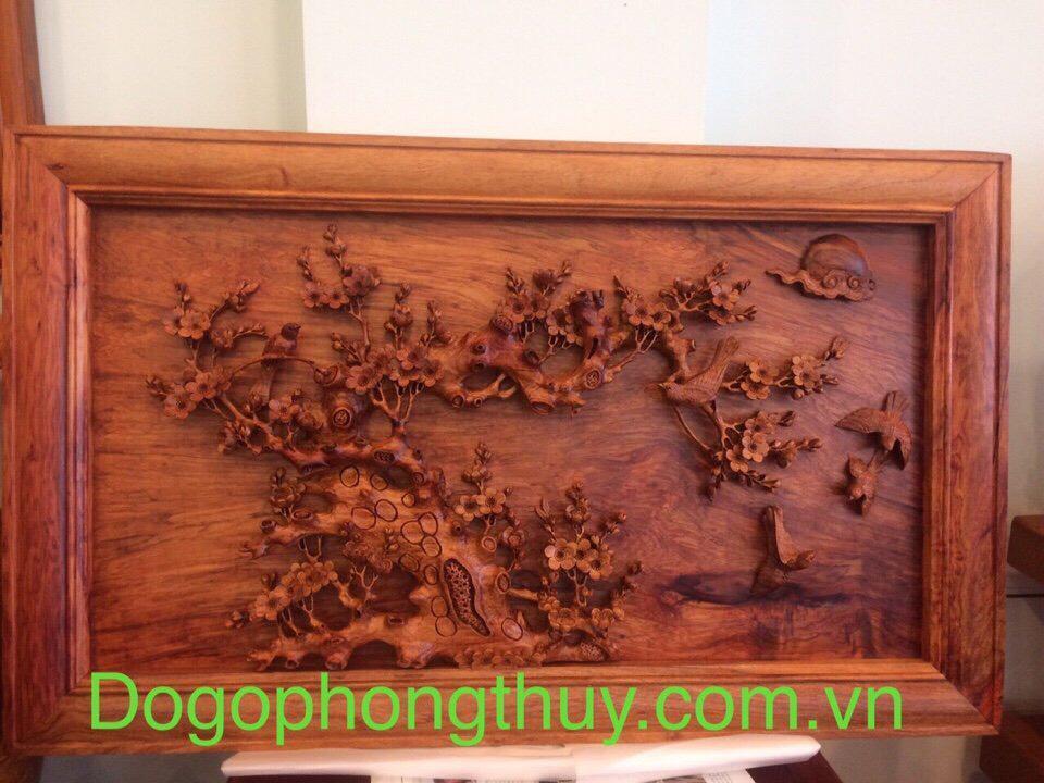 Tranh hoa mai chim én gỗ hương Gia Lai