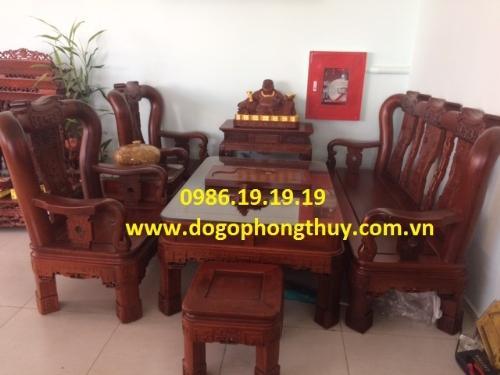 Bộ bàn ghế Quốc triện cột 12 , 6 món gỗ hương đá Gia Lai