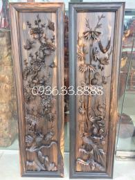 Bộ Tranh tứ Quý Tùng Trúc Cúc Mai Gỗ Mun Hoa Cao 118cm rộng 30cn dày 5cm
