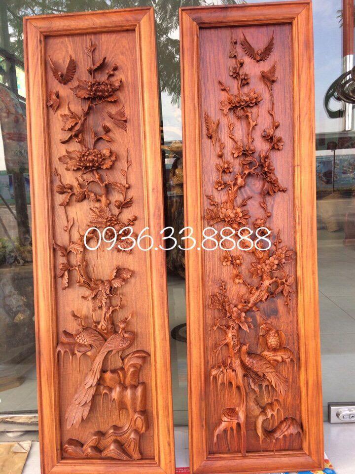 Bộ Tranh tứ quý gỗ Hương Gia Lai cao 119cm rộng 30cm dày 5cm