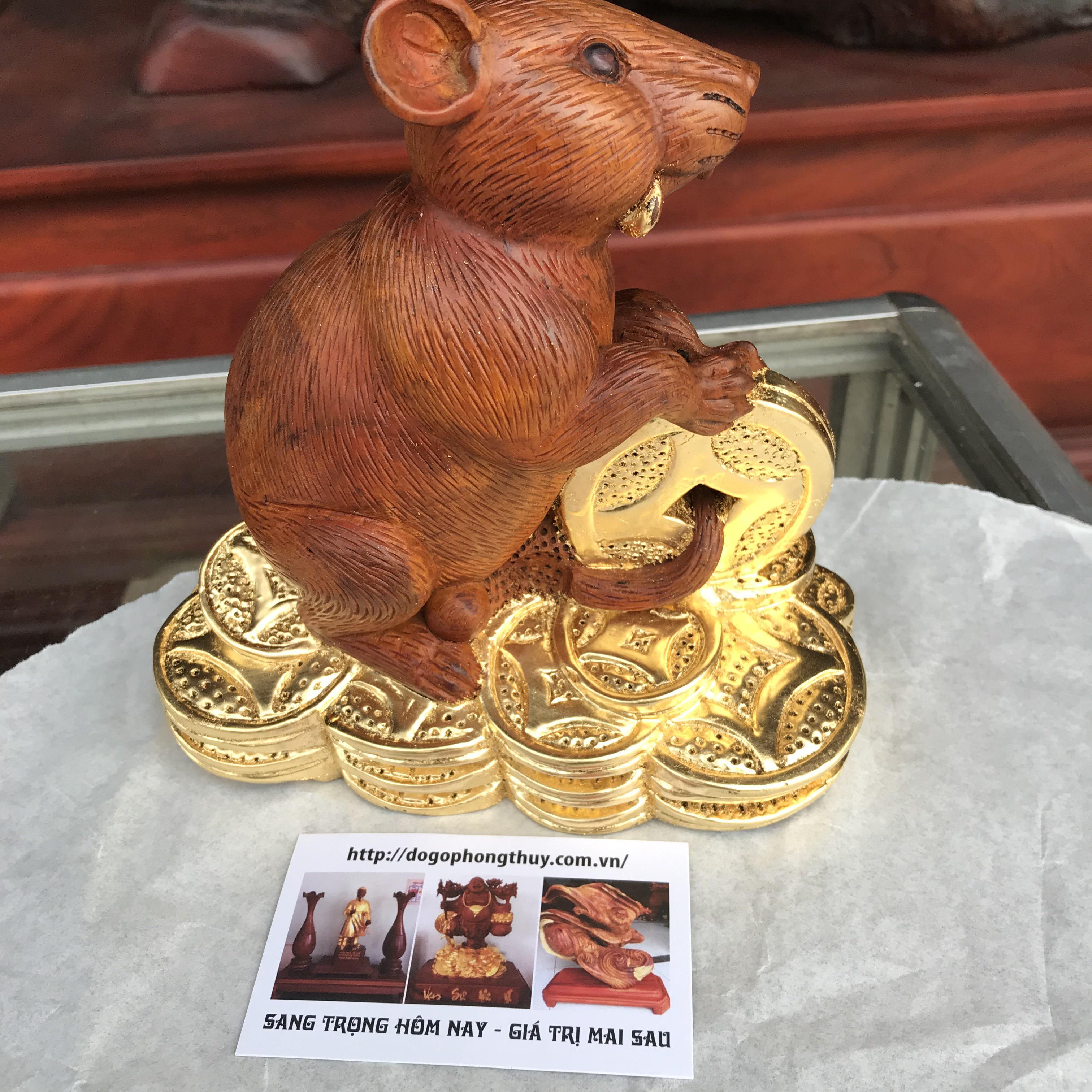 Tượng chuột phong thủy gỗ hương dát vàng 24k
