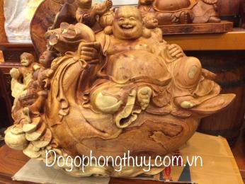 Tượng di lặc ngũ phúc gỗ hương  krongpa Gia Lai