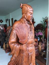 Tượng khổng minh, gỗ hương gia lai cao 80cm