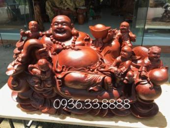 Tượng Phật di lặc ngũ phúc, gỗ hương gia lai nguyên khối,