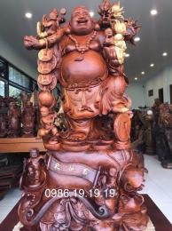 Tượng Di lặc Lục Phúc Gỗ Hương Đăklăk, Cao 1m28cm rộng 68cm sâu 58cm nặng 200kg