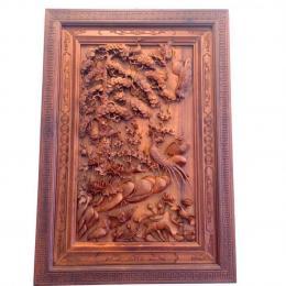 Tranh Tú quý Tùng Hạc, gỗ hương gia lai nguyên khối