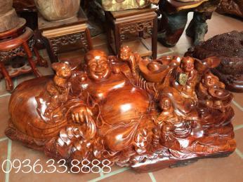 Tượng di lăc ngũ phúc, gỗ hương đá krongpa Gia Lai