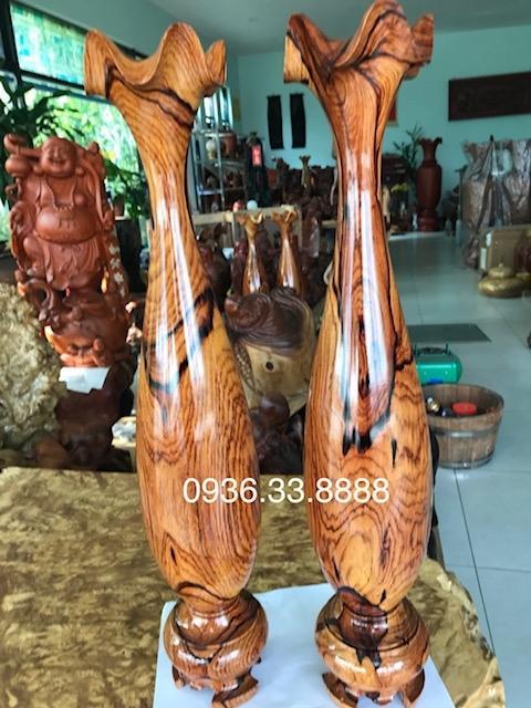 Đôi lộc Bình Phong Thủy Gỗ Cẩm Lai Đaklak, Cao 61cm đk 16cm