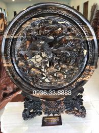 Tranh đĩa tứ linh, gỗ mun hoa đaklak nguyên khối