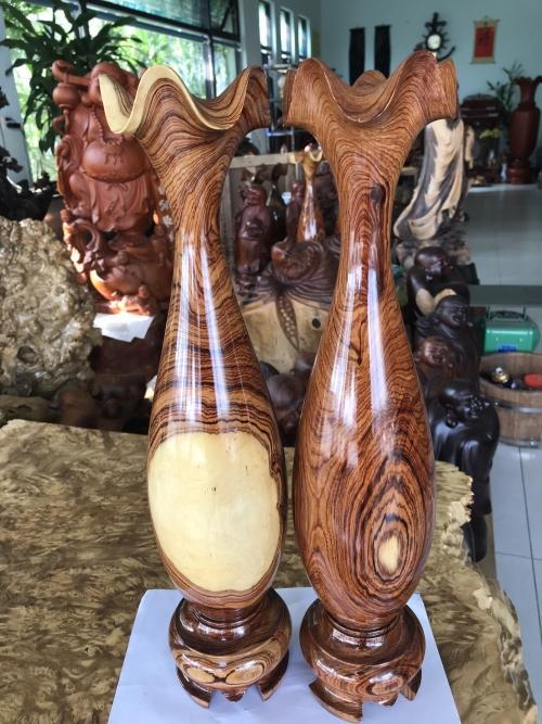 Đôi Lộc Bình Phong Thủy Gỗ Cẩm Lai Đaklak, Cao 42cm đk 15cm