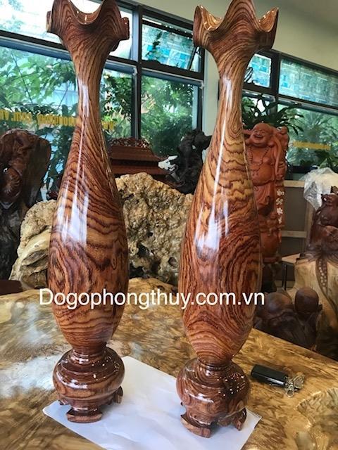 Đôi lộc Bình Phong Thủy Gỗ Cẩm Lai Đaklak, Cao 62cm đk 16cm