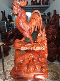 Tượng đàn gà phong thủy gỗ hương nguyên khôi