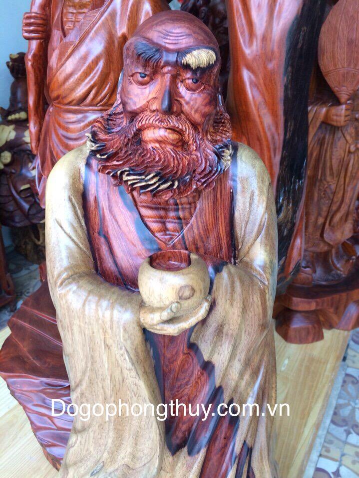 Tượng đạt ma khất thực gỗ cẩm lai