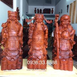 Tượng tam đa gỗ hương Gia Lai nguyên khối cao 80 cm