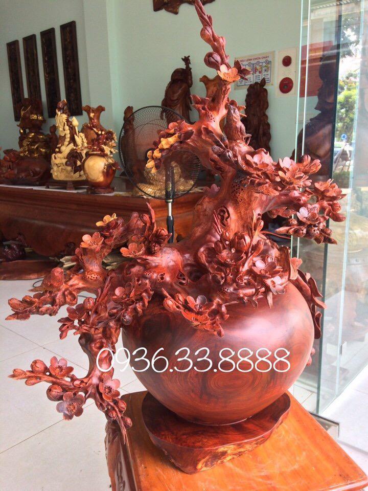 bình phú quý hoa mai chim én gỗ hương
