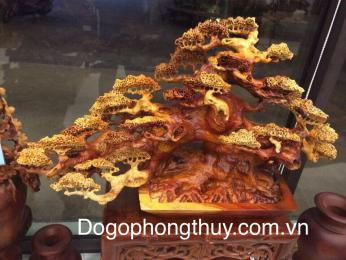 Cây Tùng Bon Sai dáng đổ, gỗ hương Gia Lai nguyên khối
