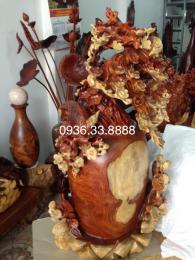 Bình phú quý tài lộc, Hoa mai lan và chim én mùa xuân, gỗ hương nguyên khối