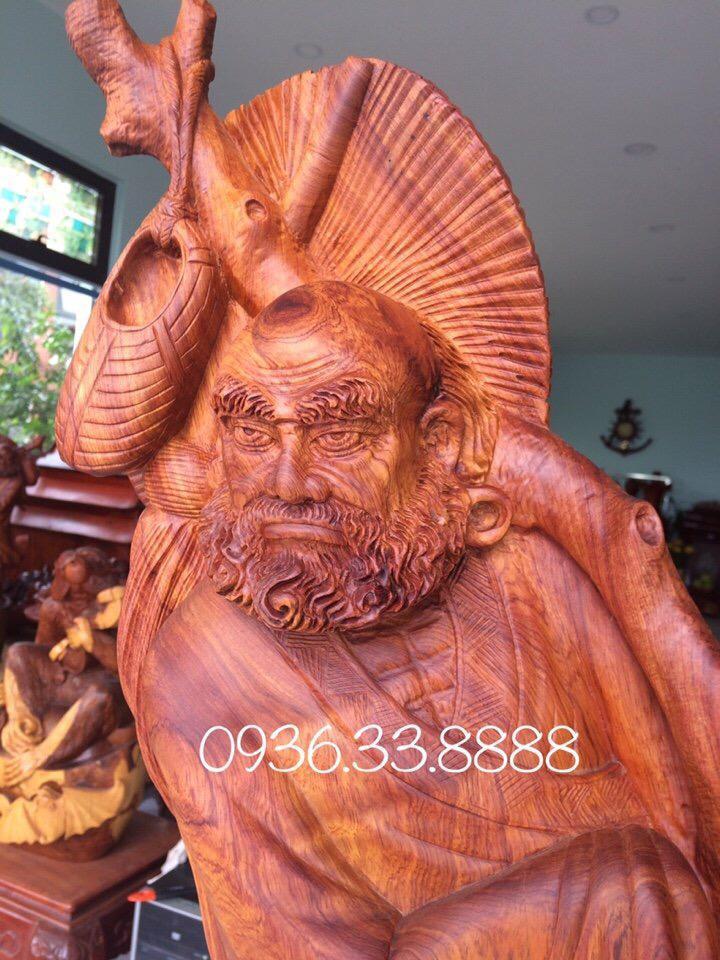 Tượng bồ đề đạt ma quá hải gỗ hương