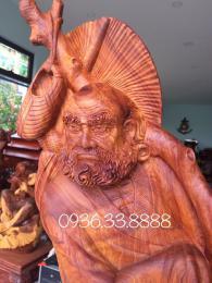 Tượng bồ đề đạt ma quá hải gỗ hương Gia Lai nguyên khối