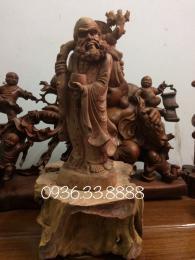 Tượng đạt ma sư tổ giáo hóa, gỗ Tùng Tuyết nguyên khối