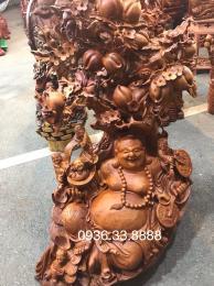 Tượng di lặc ngũ phúc, gỗ hương gia lai nguyên khối
