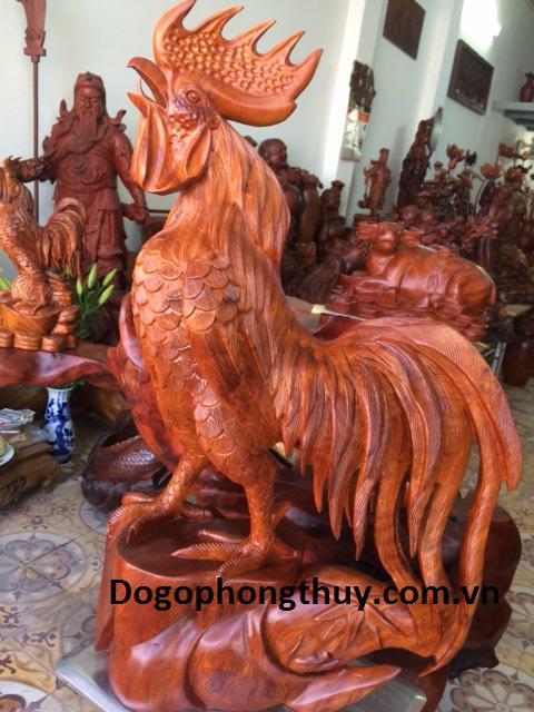 Tượng gà trống phong thủy gỗ hương gia lai nguyên khối