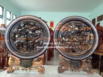 Tranh đĩa tứ linh- long ly quy phượng gỗ mun hoa