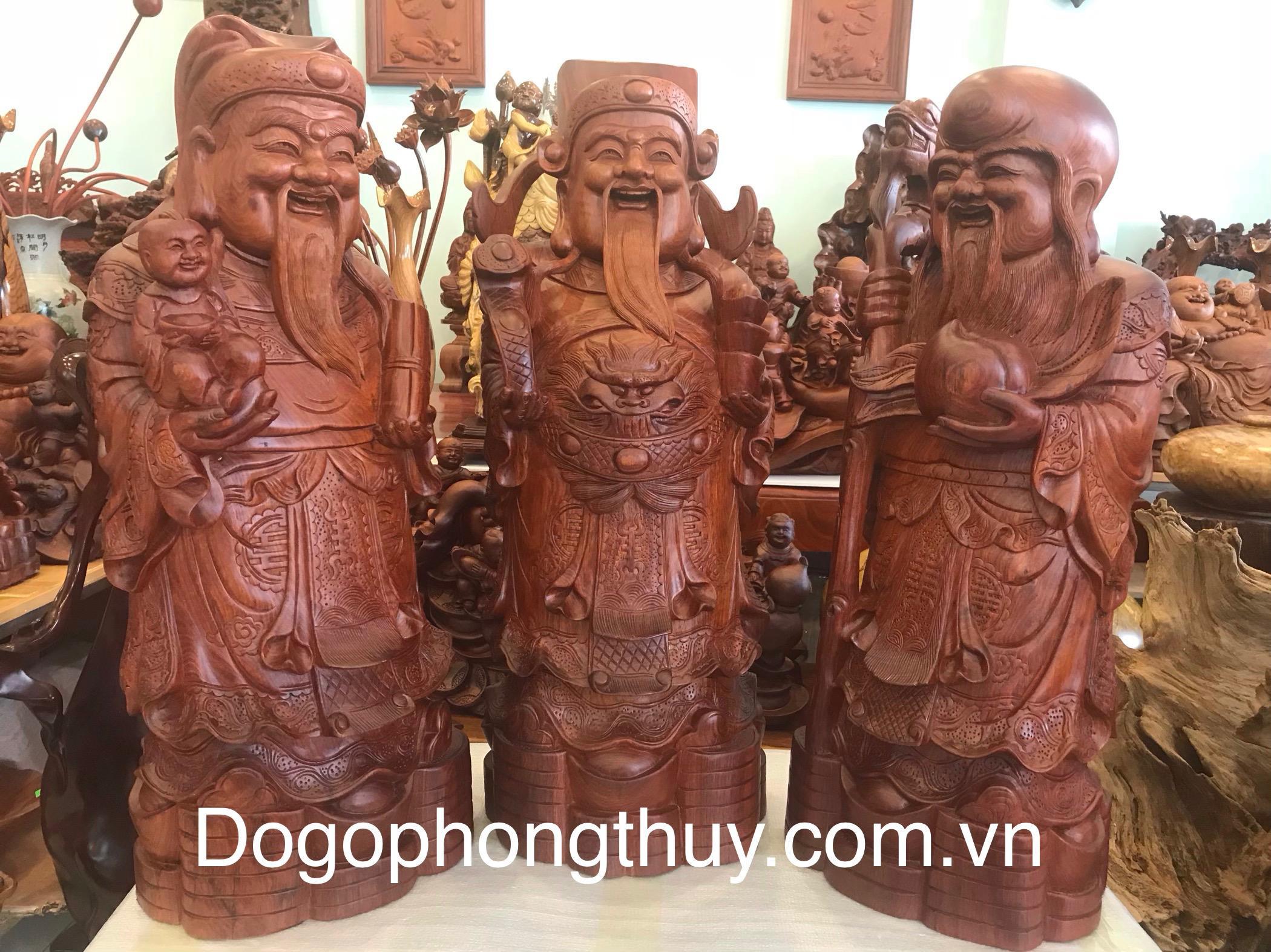 Tượng phúc lộc thọ gỗ Hương Đaklak cao 90cm