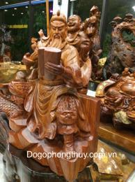 Tượng quan công đọc sách, gỗ hương Gia lai, nguyên khối