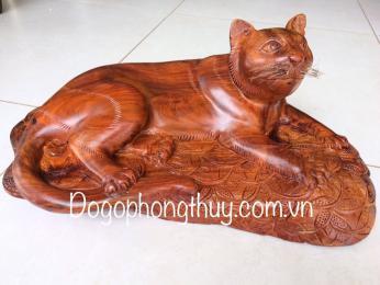 Tượng mèo phong thủy, gỗ hương dak nông nguyên khối