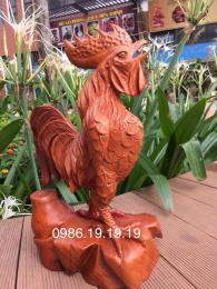 Tượng gà trống, gỗ hương gia lai nguyên khối