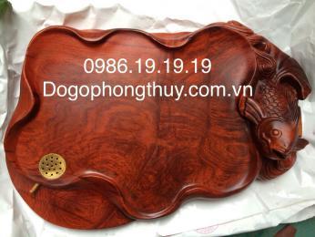 Khay trà phong thủy Cá Chép, gỗ hương Gia Lai nguyên khối