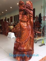 Tượng sư tổ đạt ma giáo hóa, gỗ hương Gia Lai nguyên khối,