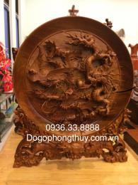 Tranh Đĩa tứ linh gỗ hương Đk 50cm nguyên khối