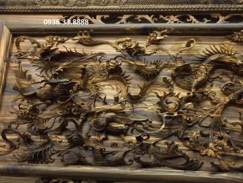 Tranh Tứ linh phong thủy gỗ mun hoa nguyên khối